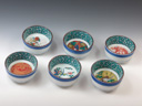 photo Japanese porcelain sake cup set (Kutani-Yaki)