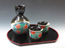 photo Japanese porcelain sake serving set with a tray (Kutani-Yaki)